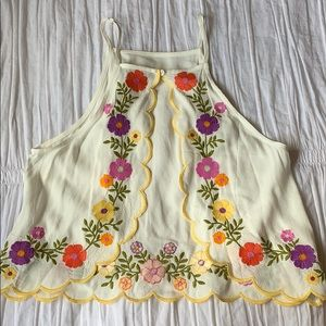 Forever 21 Floral Embroidered Scalloped Back Tank